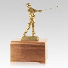 Golfing Fan Light Cherry Cremation Urn