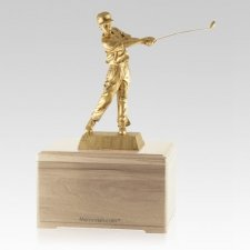 Golfing Fan Maple Cremation Urn