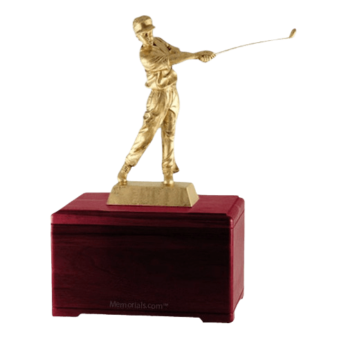 Golfing Fan Rosewood Cremation Urn