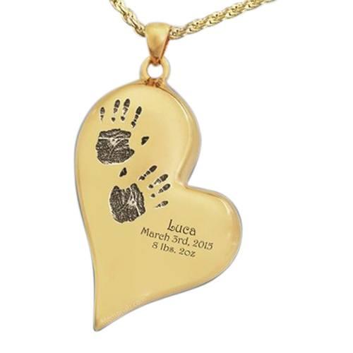 Graceful Heart 14k Gold Cremation Print Keepsake