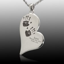 Graceful Heart Stainless Cremation Print Keepsake