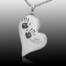 Graceful Heart 14k White Gold Cremation Print Keepsake