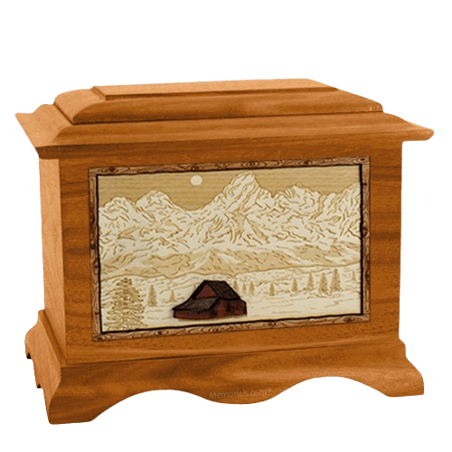 Grand Tetons Mahogany Cremation Urn