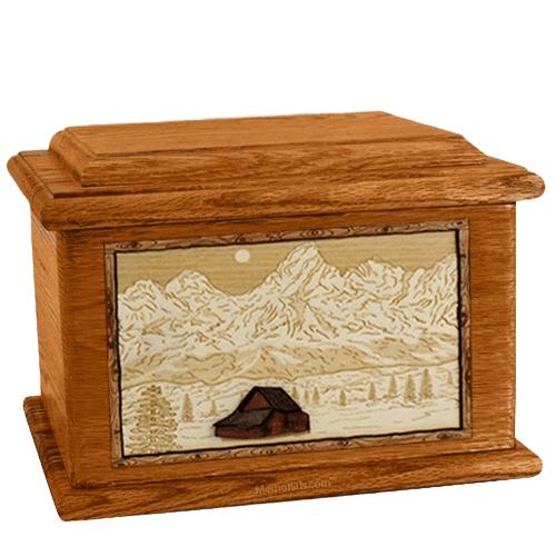 Grand Tetons Mahogany Memory Chest Cremation Urn