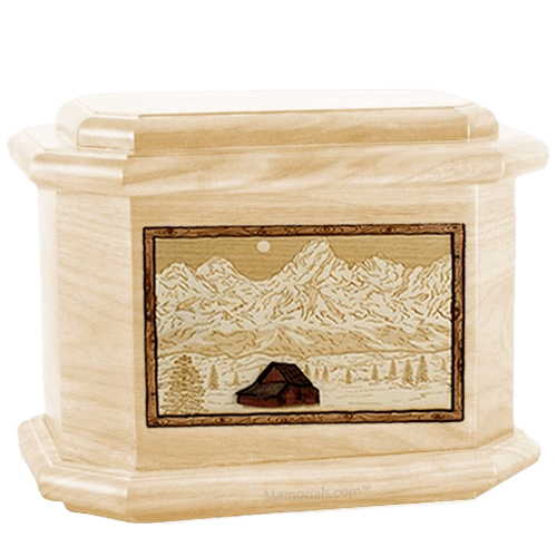 Grand Tetons Maple Octagon Cremation Urn