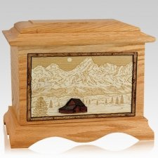 Grand Tetons Oak Cremation Urn