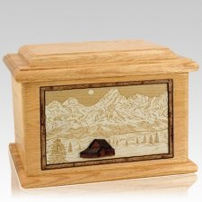 Grand Tetons Oak Memory Chest Cremation Urn