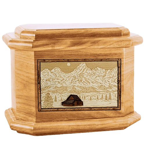 Grand Tetons Oak Octagon Cremation Urn