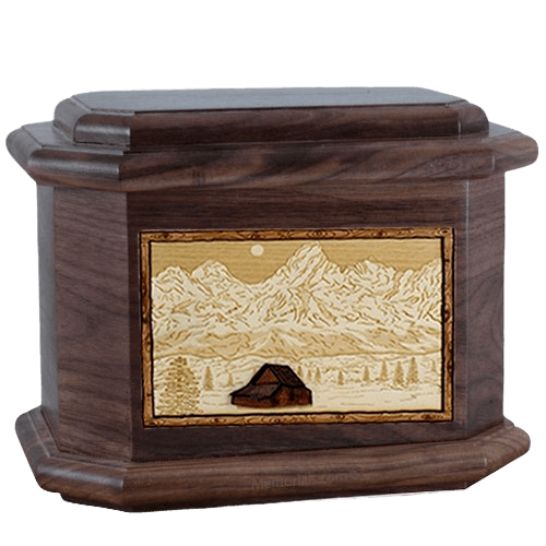 Grand Tetons Walnut Octagon Cremation Urn