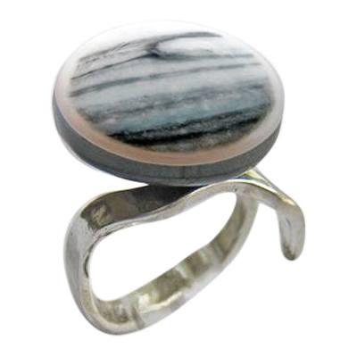 Gray Blue Memorial Ashes Ring