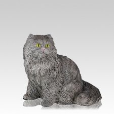 Gray Longhair Cat Cremation Urn