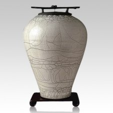 Raku Tall Gray White Cremation Urns