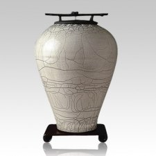 Raku Tall Gray White Cremation Urn