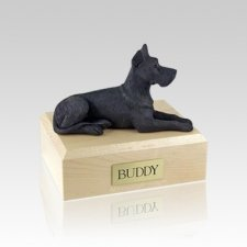 Great Dane Black Small Dog Urn