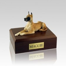 Great Dane Fawn Laying Medium Dog Urn