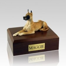 Great Dane Fawn Laying X Large Dog Urn