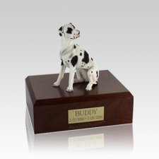 Great Dane Harlequin Ears Down Small Dog Urn