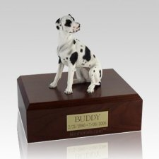 Great Dane Harlequin Ears Down Dog Urns
