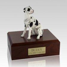 Great Dane Harlequin Ears Down Dog Urns