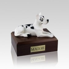Great Dane Harlequin Laying Small Dog Urn