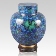 Great Wall Blue & Green Cloisonne Keepsake Urns