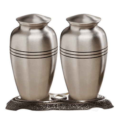Grecian Pewter Cremation Urns For Two