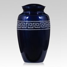 Greek Key Metal Cremation Urn