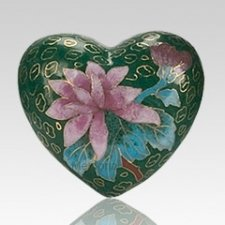 Green Copper Heart Keepsake Urn
