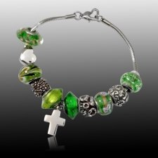 Green Cross Cremation Bracelet