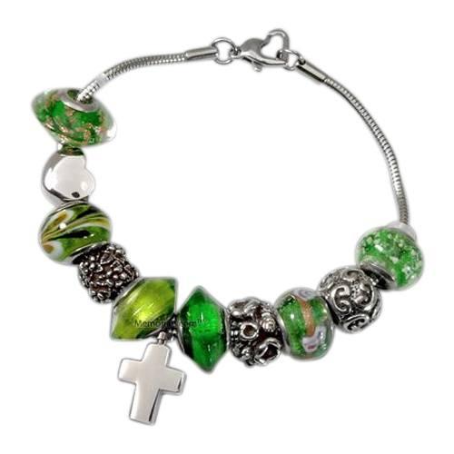 Green Cross Cremation Bracelet