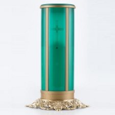 Green Cross Filigree Memorial Candle