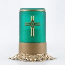 Green Cross Ornate Memorial Candle