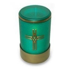Green Cross Small Memorial Candle