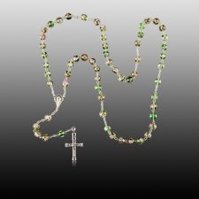 Green Crystal Cremation Rosaries