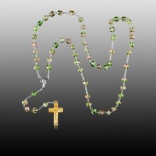 Green Crystal Gold Cremation Rosary