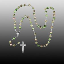 Green Crystal Silver Cremation Rosary