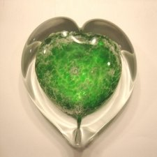 Green Heart Glass Cremation Keepsake