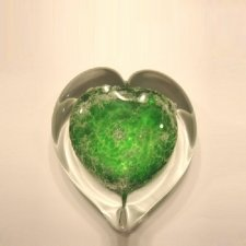 Green Heart Small Glass Cremation Keepsake