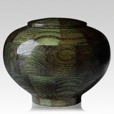 Green Large Wood Urn