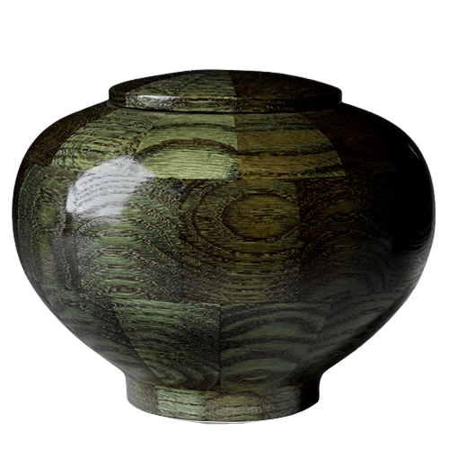 Green Large Wood Urn