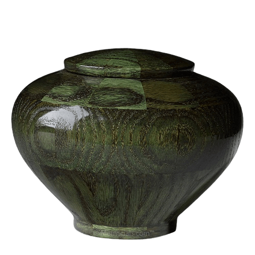 Green Medium Wood Urn