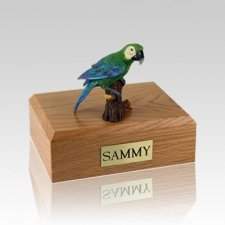 Green Parrot Large Bird Cremation Urn