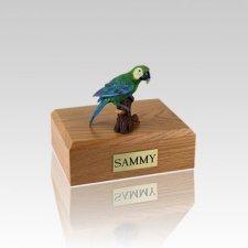 Green Parrot Small Bird Cremation Urn
