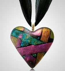 Green Pink Heart Ashes Pendants