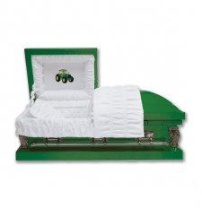 Green Tractor Small Child Casket