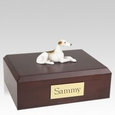 Greyhound White & Brindle Laying Dog Urns