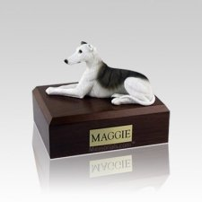 Greyhound White & Brindle Small Dog Urn