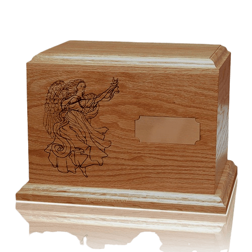 Guardian Angel Walnut Wood Urn