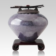 Raku Metallic Blue Extra Large Cremation Urn