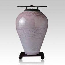 Raku Tall Metallic Blue Cremation Urn